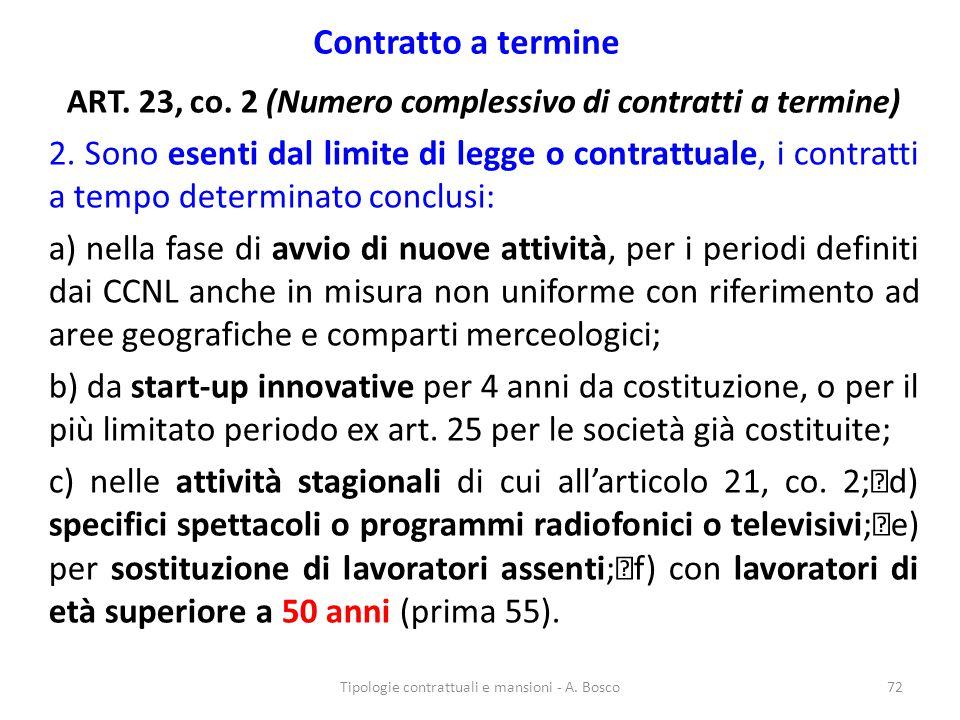ART. 23, co. 2 (Numero complessivo di contratti a termine)