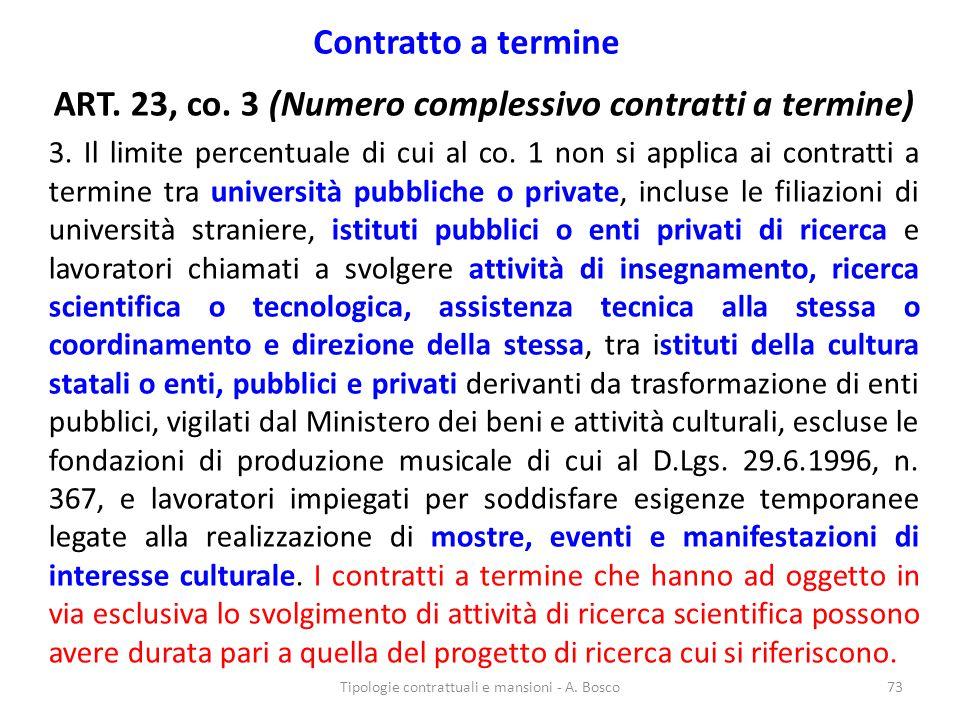ART. 23, co. 3 (Numero complessivo contratti a termine)