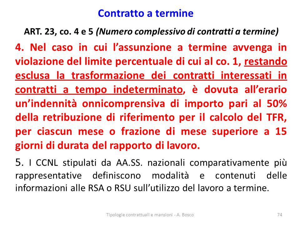 Contratto a termine ART. 23, co. 4 e 5 (Numero complessivo di contratti a termine)