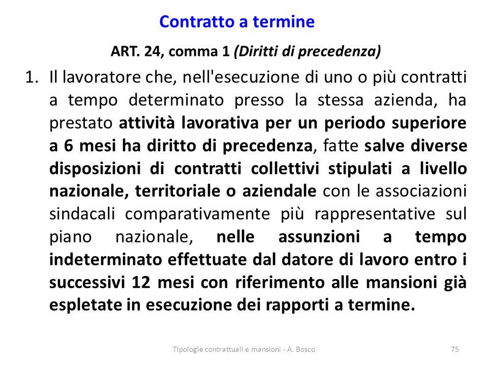 ART. 24, comma 1 (Diritti di precedenza)