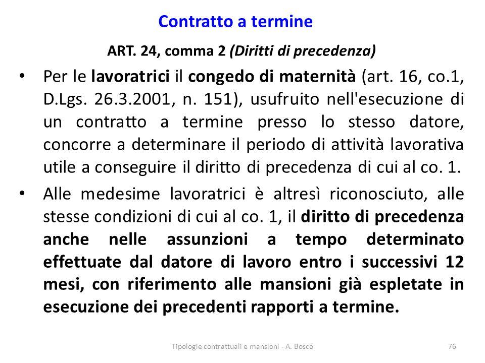 ART. 24, comma 2 (Diritti di precedenza)