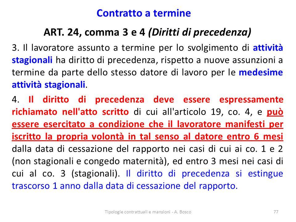 ART. 24, comma 3 e 4 (Diritti di precedenza)
