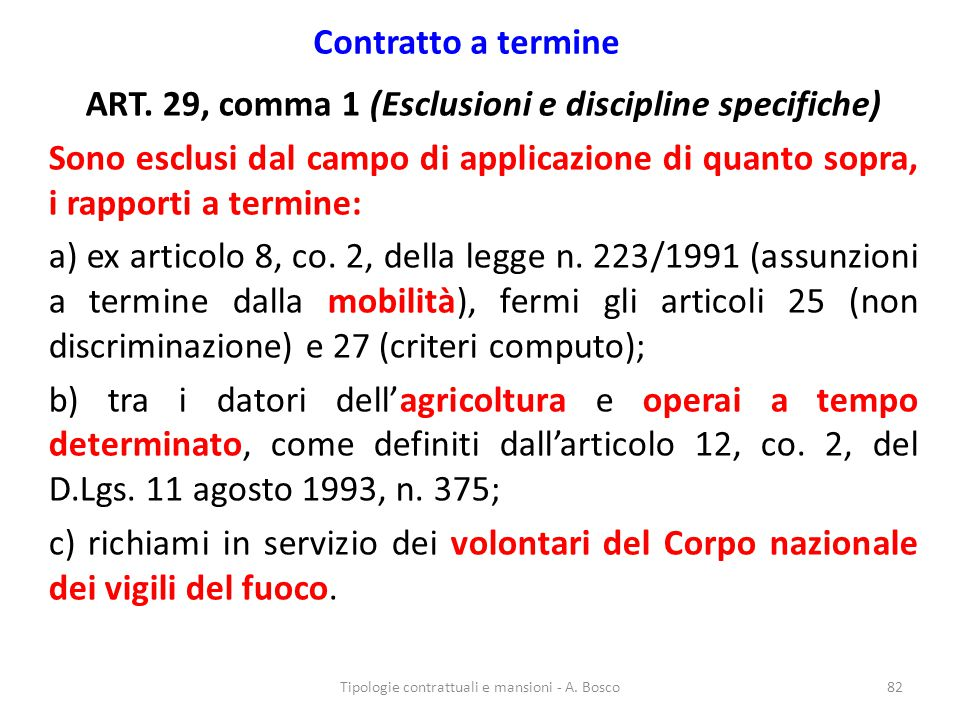 ART. 29, comma 1 (Esclusioni e discipline specifiche)