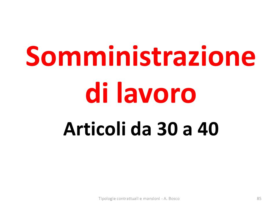 Somministrazione di lavoro Articoli da 30 a 40