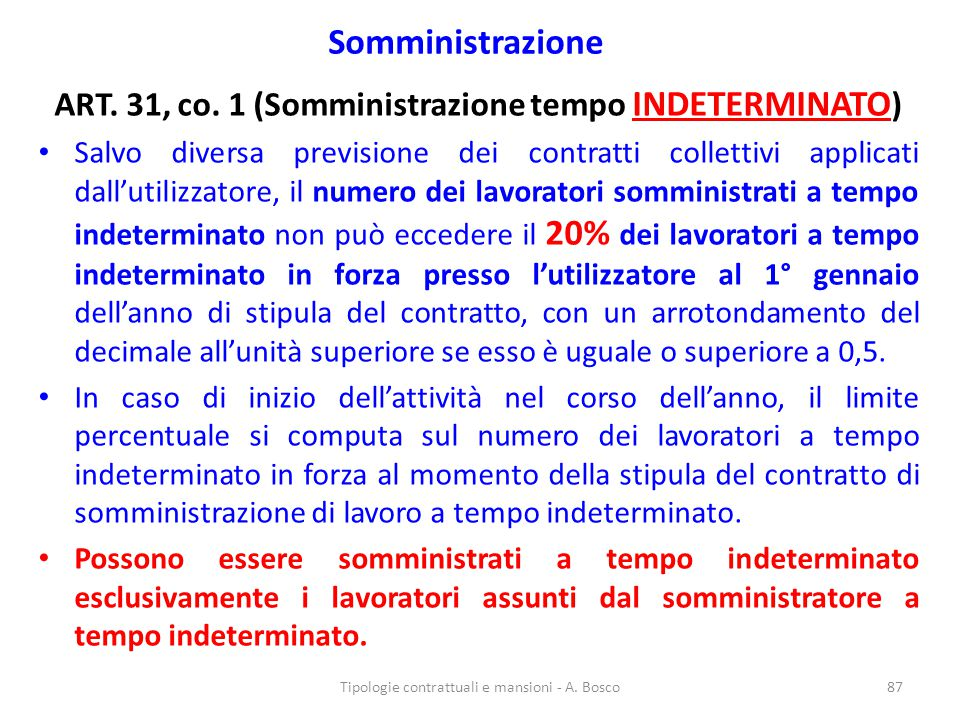 ART. 31, co. 1 (Somministrazione tempo INDETERMINATO)