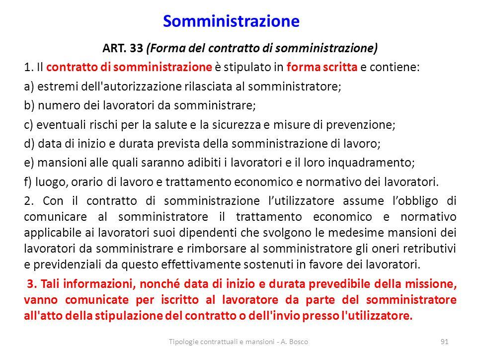 ART. 33 (Forma del contratto di somministrazione)