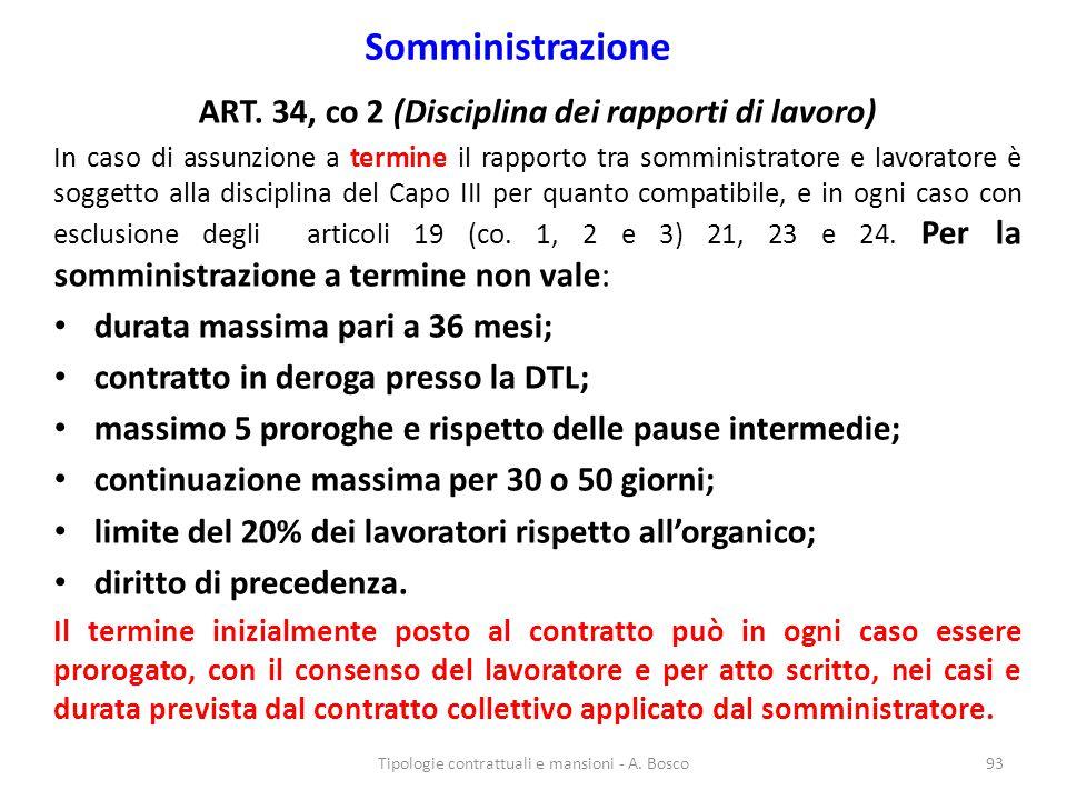 ART. 34, co 2 (Disciplina dei rapporti di lavoro)