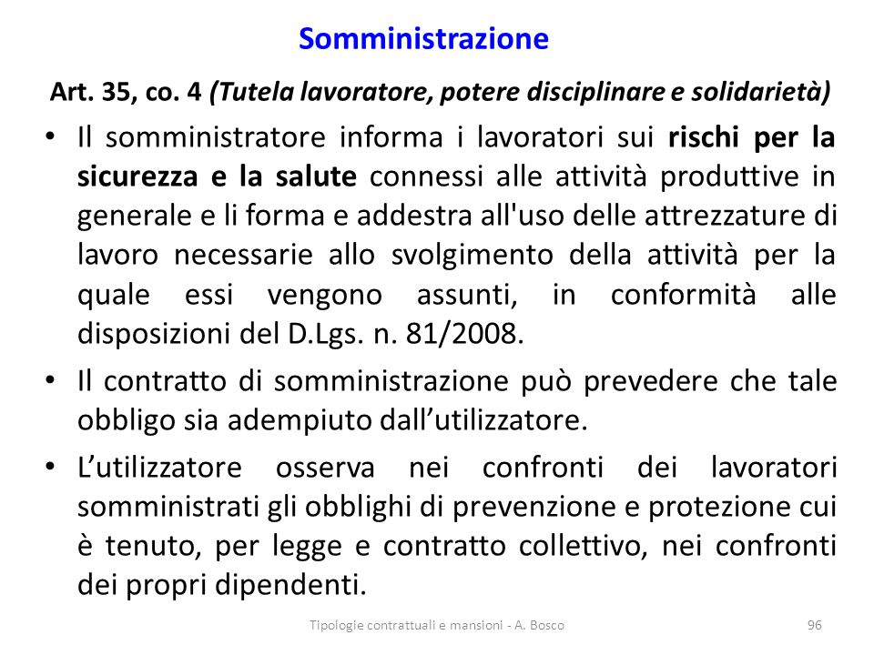 Art. 35, co. 4 (Tutela lavoratore, potere disciplinare e solidarietà)