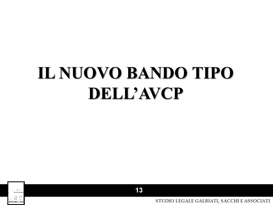 IL NUOVO BANDO TIPO DELL'AVCP