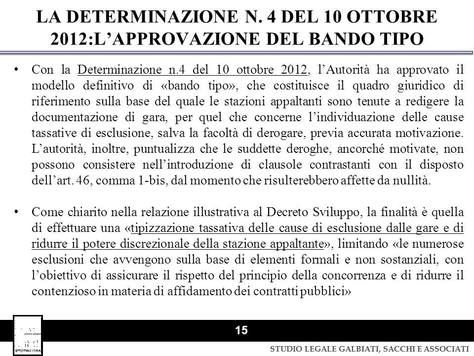 LA DETERMINAZIONE N. 4 DEL 10 OTTOBRE 2012:L'APPROVAZIONE DEL BANDO TIPO