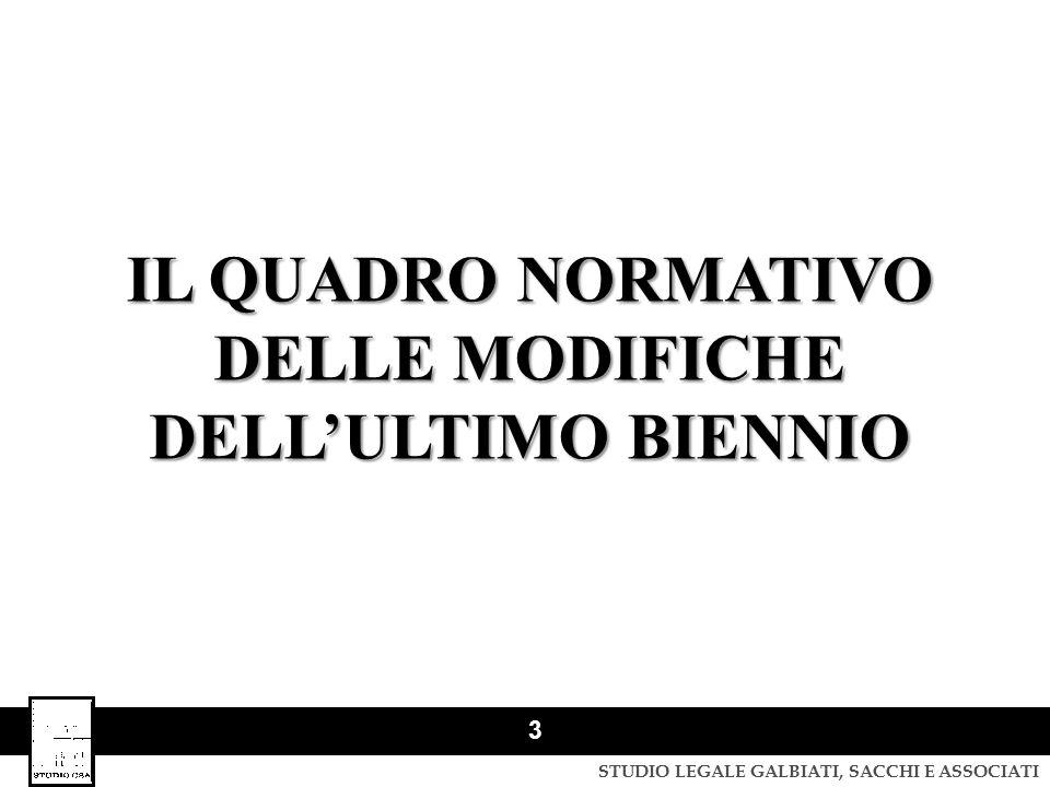 DELLE MODIFICHE DELL'ULTIMO BIENNIO