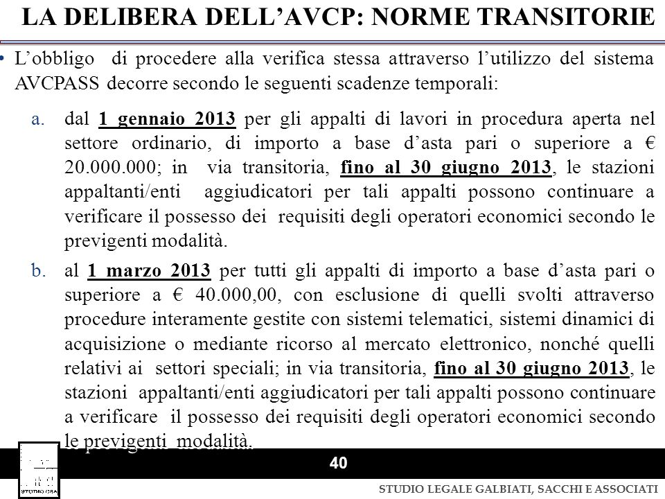 LA DELIBERA DELL'AVCP: NORME TRANSITORIE