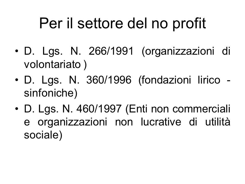 Per il settore del no profit