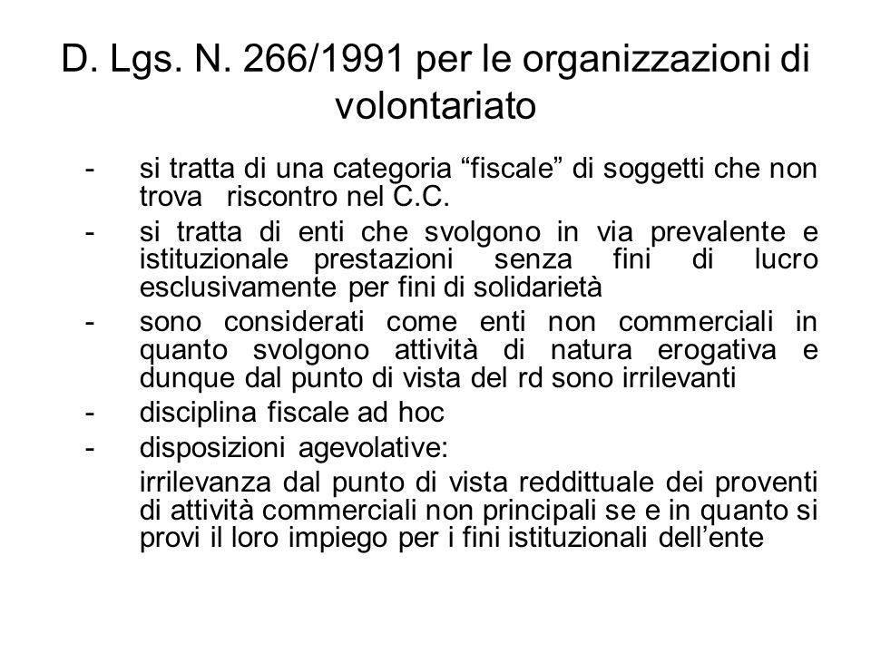 D. Lgs. N. 266/1991 per le organizzazioni di volontariato