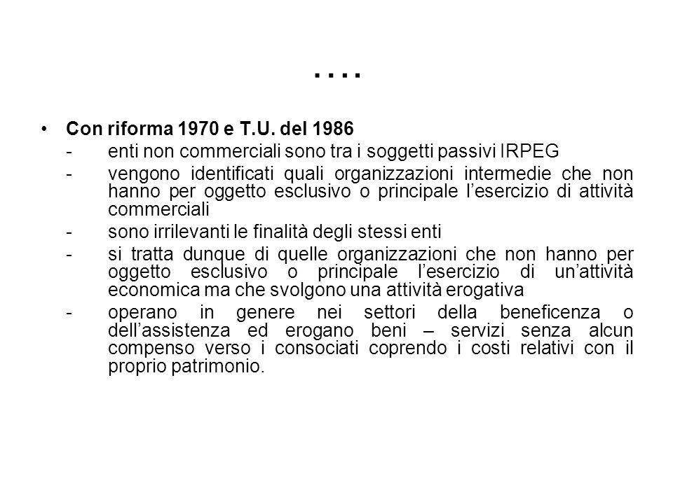 …. Con riforma 1970 e T.U. del 1986. - enti non commerciali sono tra i soggetti passivi IRPEG.