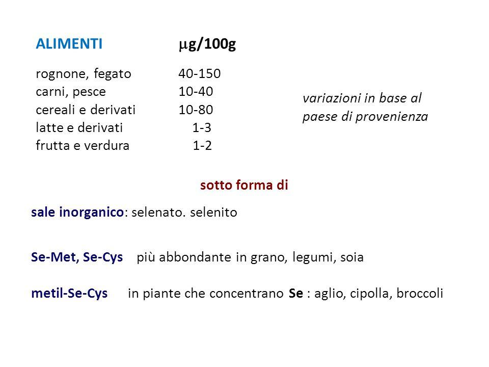 ALIMENTI g/100g rognone, fegato 40-150 carni, pesce 10-40