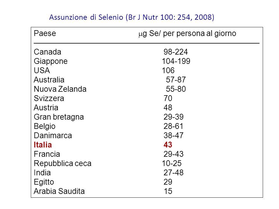 Assunzione di Selenio (Br J Nutr 100: 254, 2008)