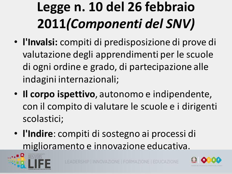 Legge n. 10 del 26 febbraio 2011(Componenti del SNV)