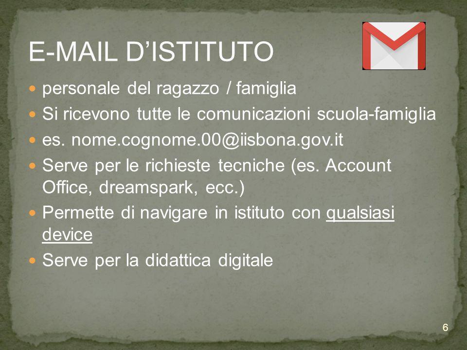 E-MAIL D'ISTITUTO personale del ragazzo / famiglia