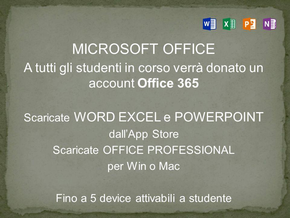 MICROSOFT OFFICE A tutti gli studenti in corso verrà donato un account Office 365. Scaricate WORD EXCEL e POWERPOINT.