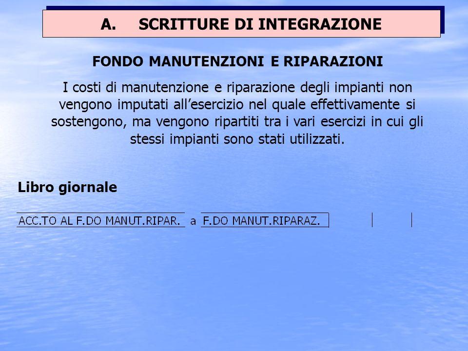 A. SCRITTURE DI INTEGRAZIONE FONDO MANUTENZIONI E RIPARAZIONI