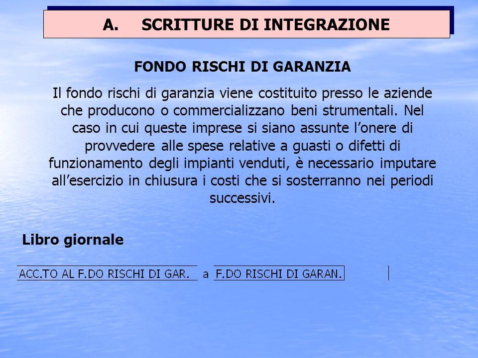 A. SCRITTURE DI INTEGRAZIONE FONDO RISCHI DI GARANZIA