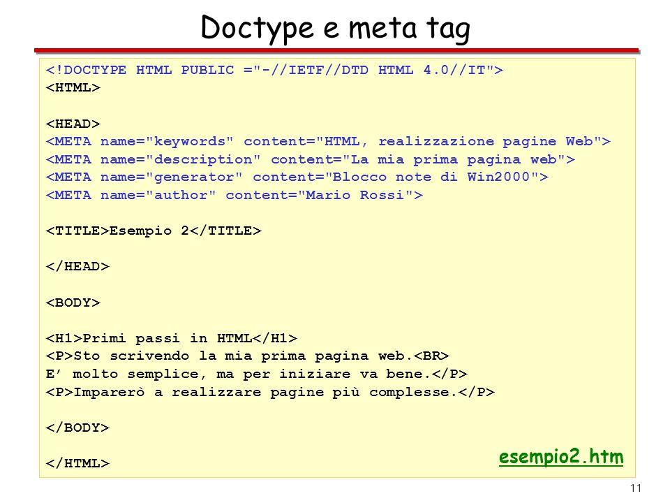 Doctype e meta tag esempio2.htm