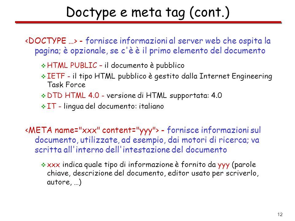 Doctype e meta tag (cont.)