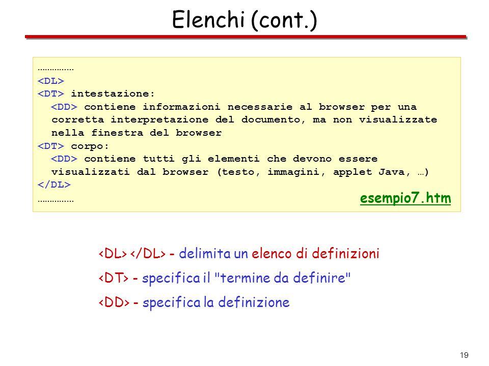 Elenchi (cont.) esempio7.htm
