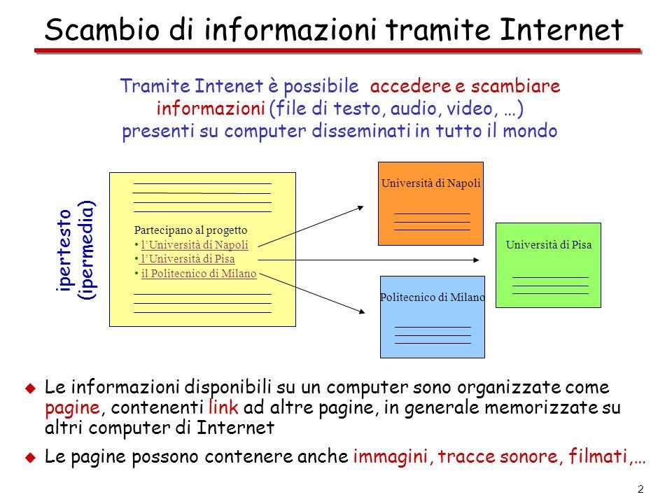 Scambio di informazioni tramite Internet