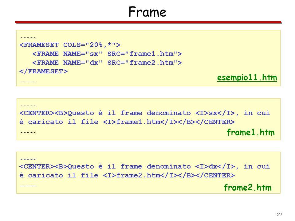 Frame esempio11.htm frame1.htm frame2.htm …………