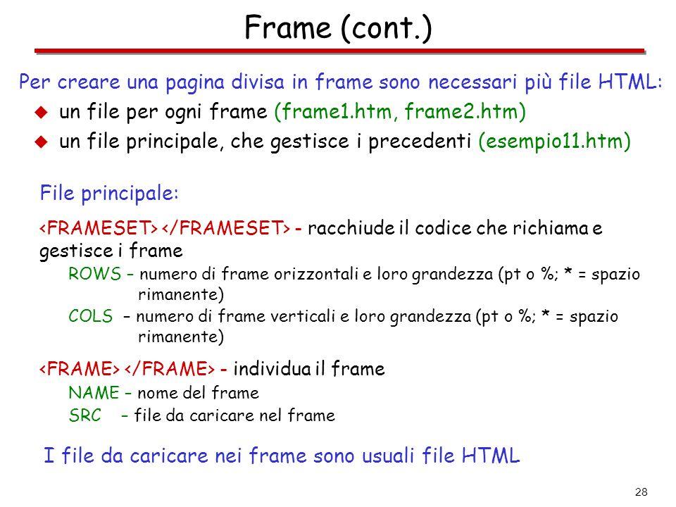 Frame (cont.) Per creare una pagina divisa in frame sono necessari più file HTML: un file per ogni frame (frame1.htm, frame2.htm)