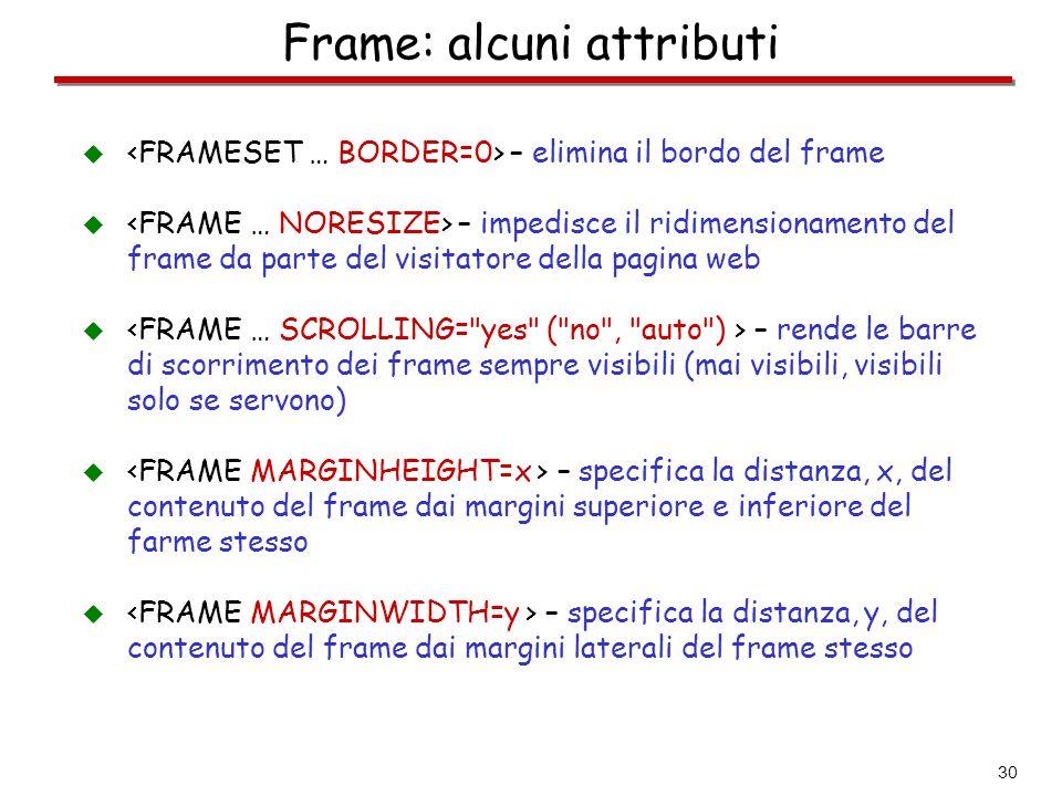 Frame: alcuni attributi