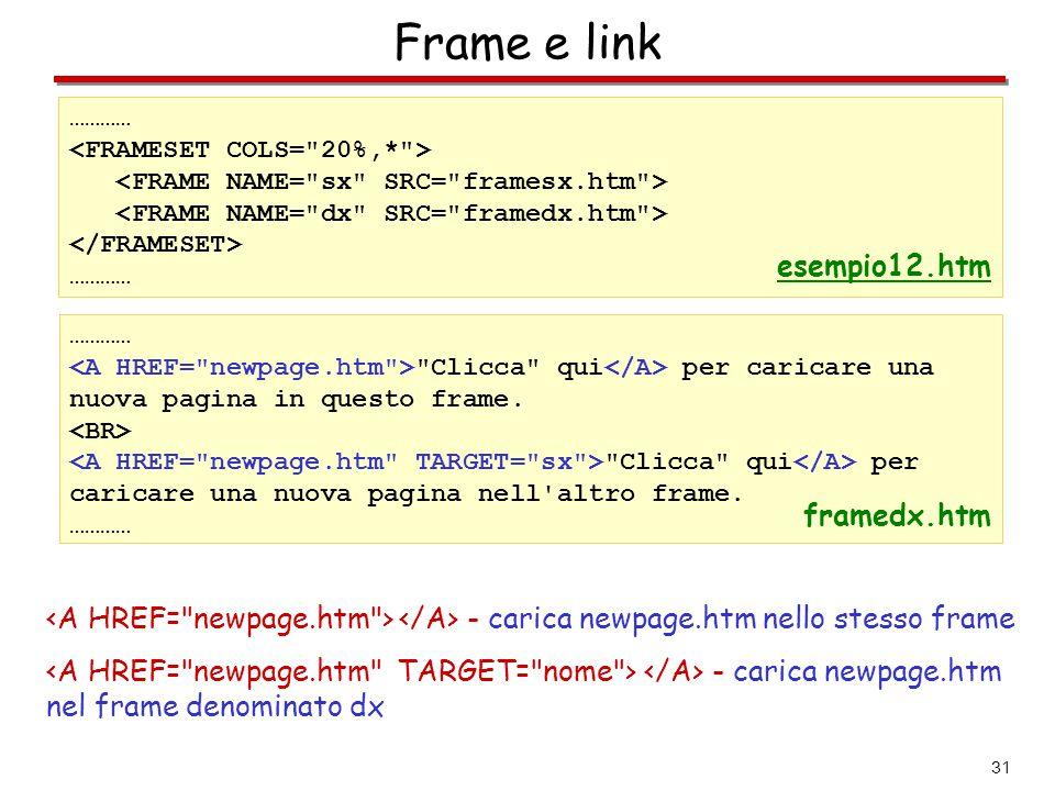 Frame e link esempio12.htm framedx.htm