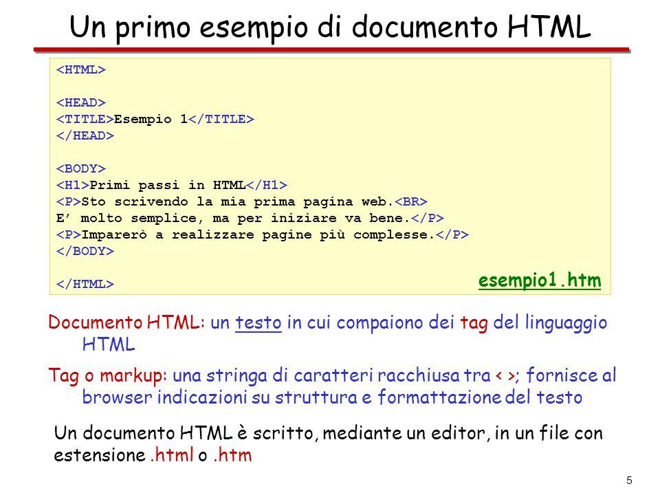Un primo esempio di documento HTML