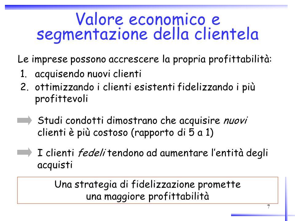 Valore economico e segmentazione della clientela