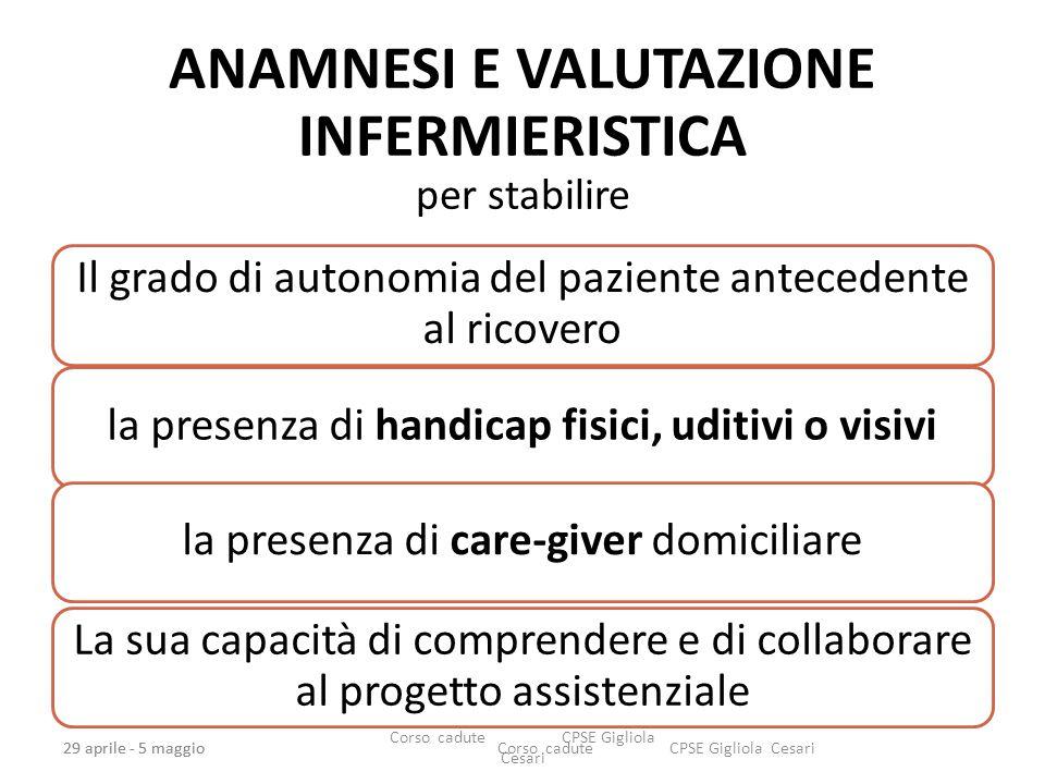 ANAMNESI E VALUTAZIONE INFERMIERISTICA per stabilire