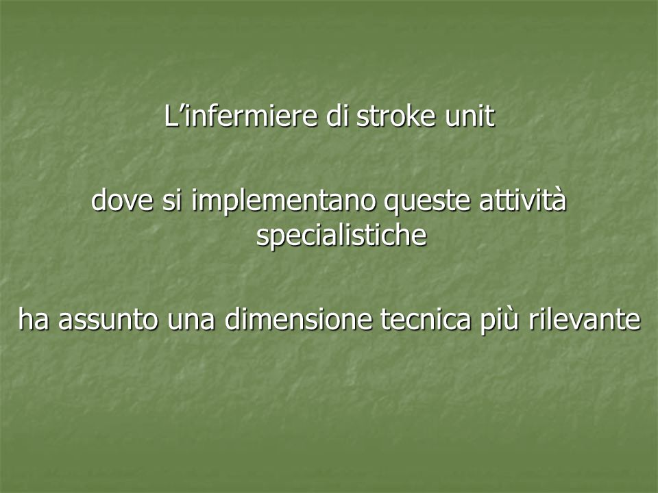 L'infermiere di stroke unit