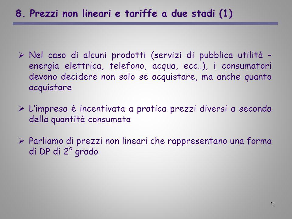 8. Prezzi non lineari e tariffe a due stadi (1)