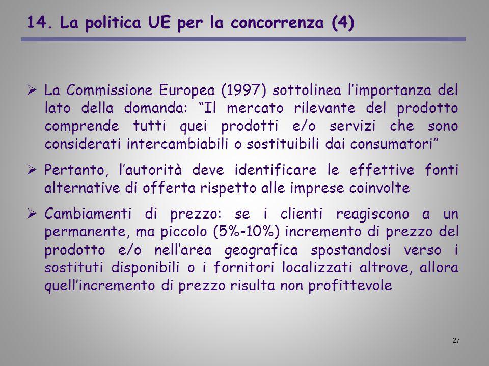 14. La politica UE per la concorrenza (4)