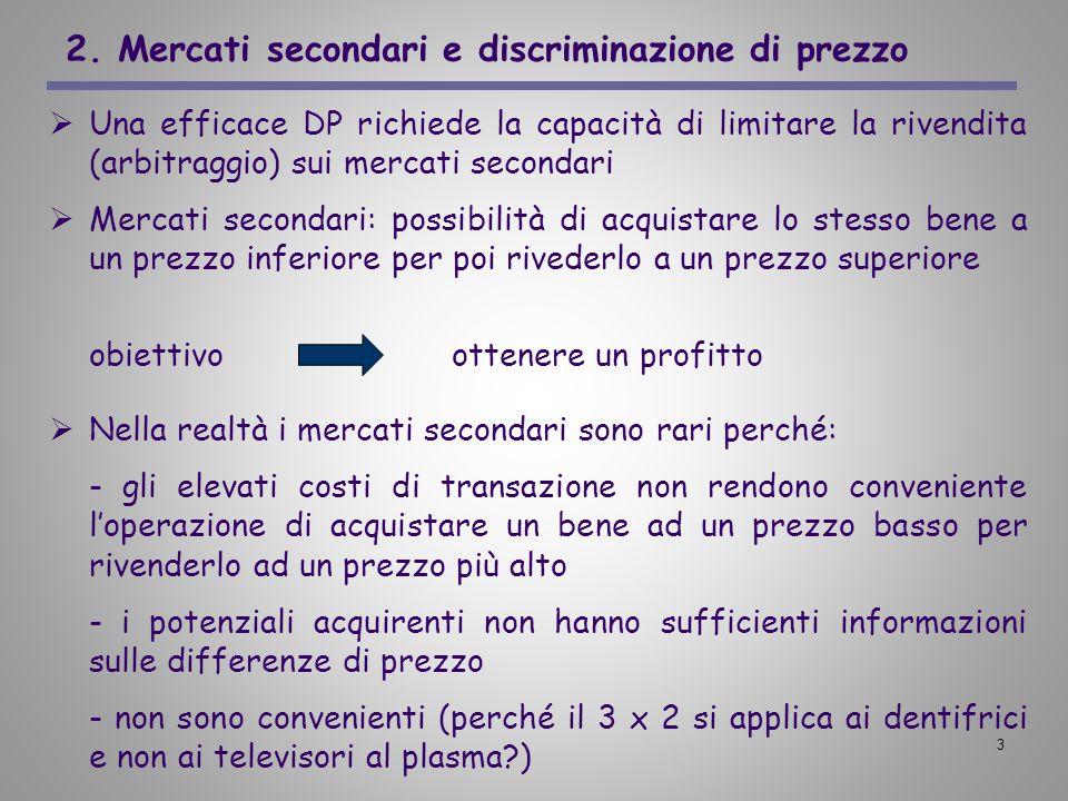 2. Mercati secondari e discriminazione di prezzo