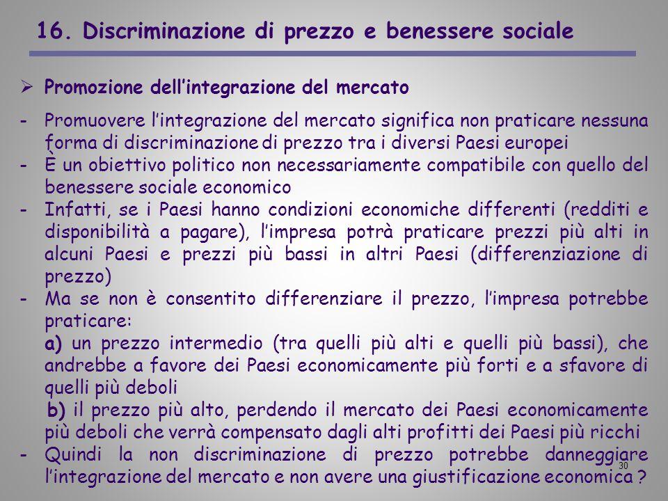 16. Discriminazione di prezzo e benessere sociale