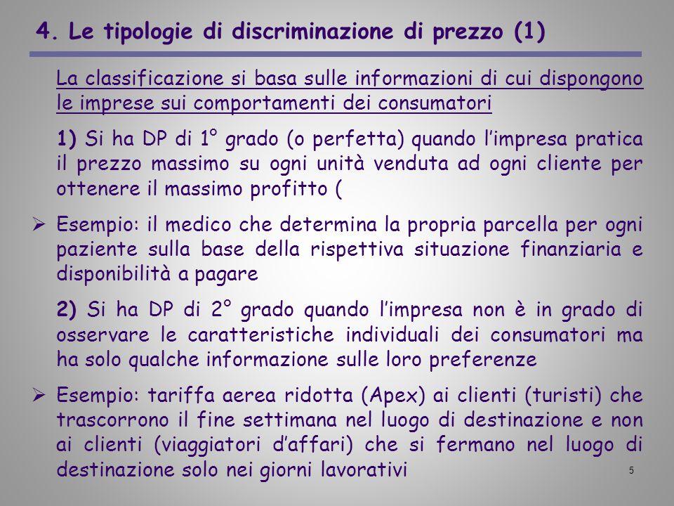 4. Le tipologie di discriminazione di prezzo (1)
