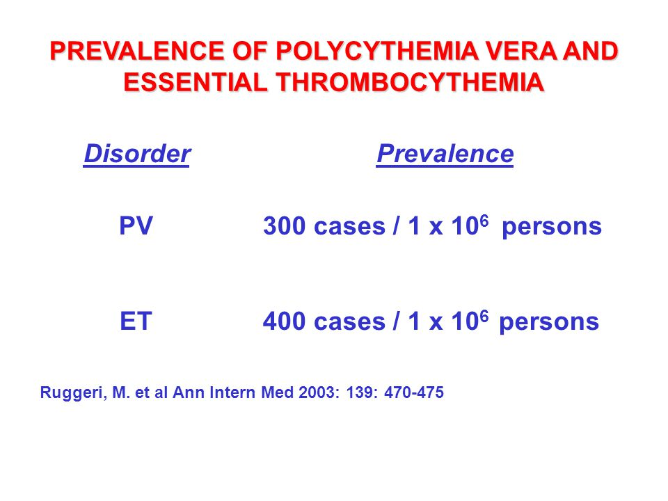 PREVALENCE OF POLYCYTHEMIA VERA AND ESSENTIAL THROMBOCYTHEMIA