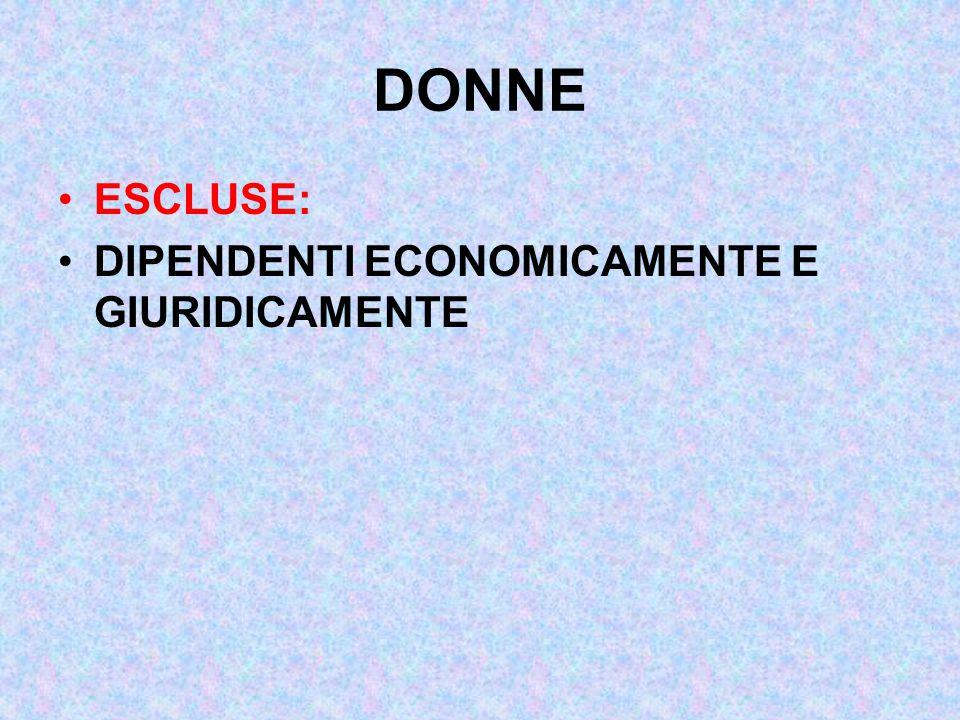 DONNE ESCLUSE: DIPENDENTI ECONOMICAMENTE E GIURIDICAMENTE