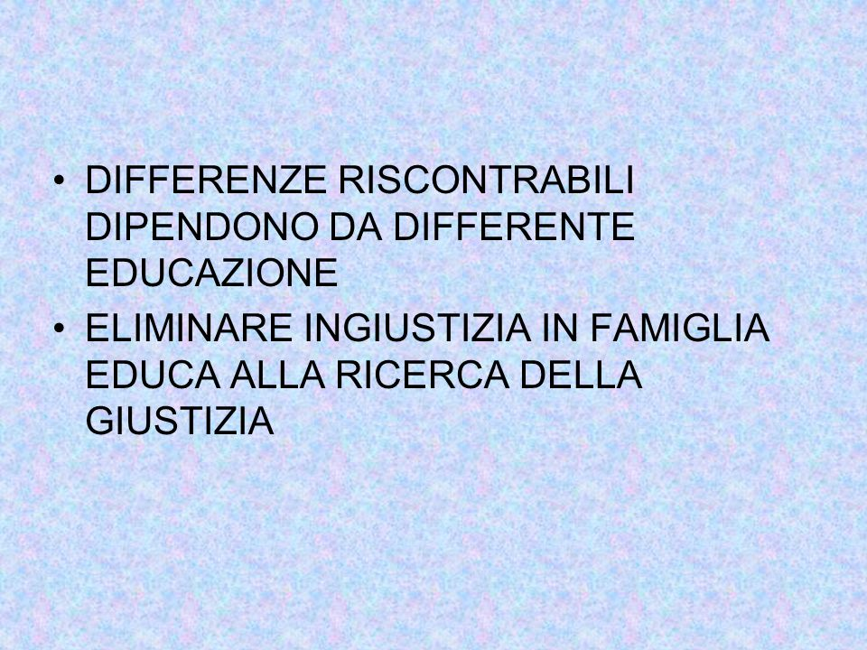 DIFFERENZE RISCONTRABILI DIPENDONO DA DIFFERENTE EDUCAZIONE