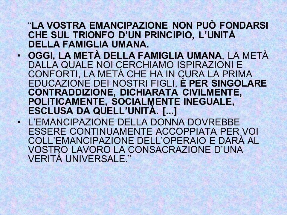 LA VOSTRA EMANCIPAZIONE NON PUÒ FONDARSI CHE SUL TRIONFO D'UN PRINCIPIO, L'UNITÀ DELLA FAMIGLIA UMANA.