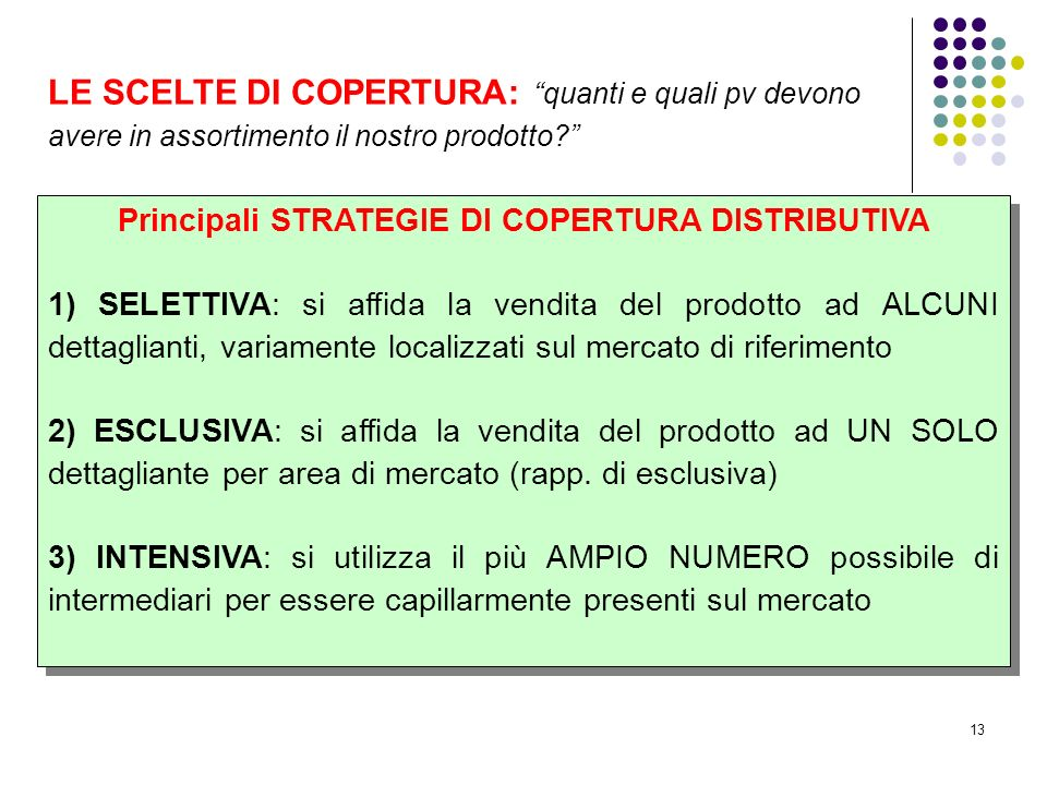 Principali STRATEGIE DI COPERTURA DISTRIBUTIVA