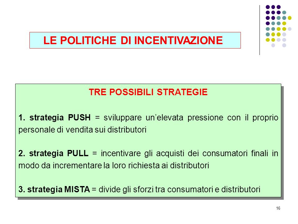 TRE POSSIBILI STRATEGIE