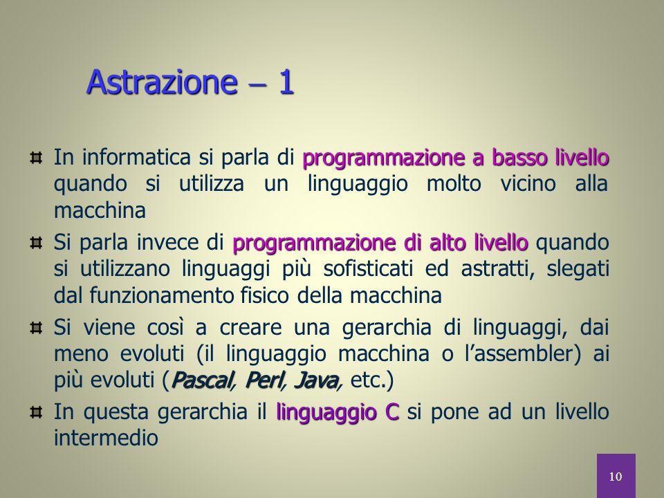 Astrazione  1 In informatica si parla di programmazione a basso livello quando si utilizza un linguaggio molto vicino alla macchina.